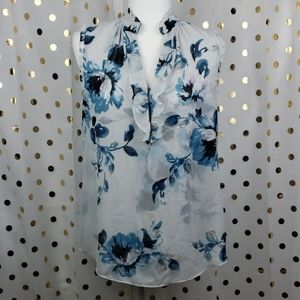 White Black Blue Floral Ruffle Blouse